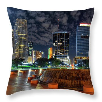 Full Moon Over Bayfront Park In Downtown Miami Throw Pillow