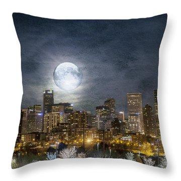 Full Moon Over Denver Throw Pillow