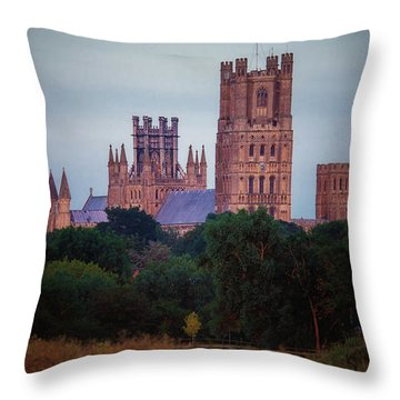 Full Moon Over Ely Cathedral Throw Pillow