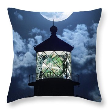 Throw Pillow featuring the photograph Full Moon Over Hillsboro Lighthouse In Pompano Beach Florida  by Justin Kelefas