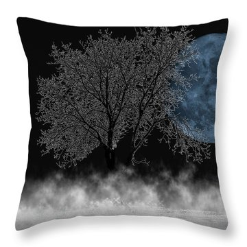 Full Moon Over Iced Tree Throw Pillow