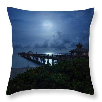 Full Moon Over Juno Beach Pier Throw Pillow