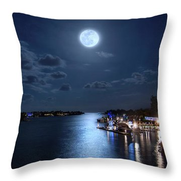 Full Moon Over Jupiter Lighthouse And Inlet In Florida Throw Pillow