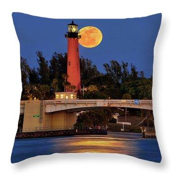 Full Moon Over Jupiter Lighthouse, Florida Throw Pillow