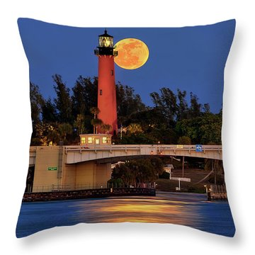 Throw Pillow featuring the photograph Full Moon Over Jupiter Lighthouse, Florida by Justin Kelefas