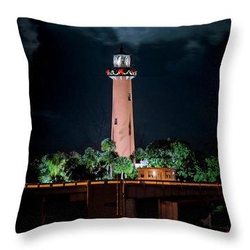 Full Moon Over Jupiter Lighthouse On Christmas Night 2015 Throw Pillow