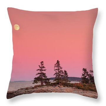 Throw Pillow featuring the photograph Full Moon Over Maine  by Emmanuel Panagiotakis