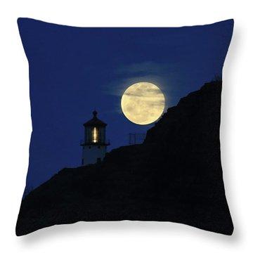 Full Moon Over Makapu'u Light Throw Pillow