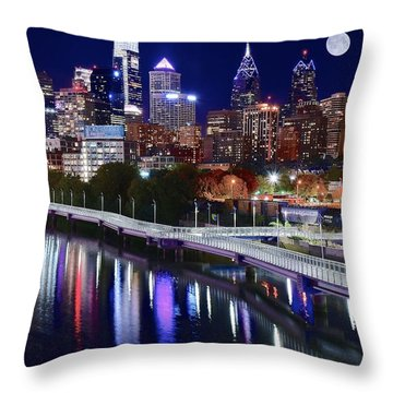Full Moon Over Philly Throw Pillow