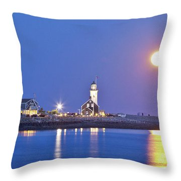 Full Moon Over Scituate Light Throw Pillow
