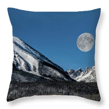 Full Moon Over Silverthorne Mountain Throw Pillow