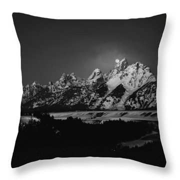 Full Moon Sets In The Tetons Throw Pillow by Raymond Salani III