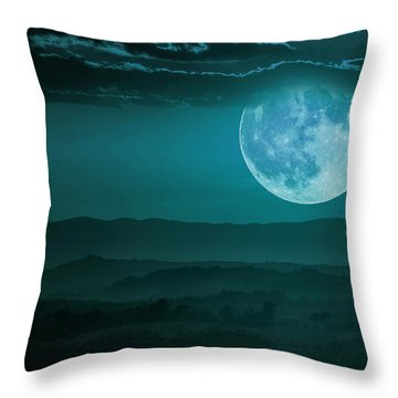 Full Moon Over Tuscany Throw Pillow