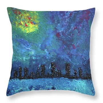 Full Moon Over Watercity Throw Pillow by Erik Tanghe