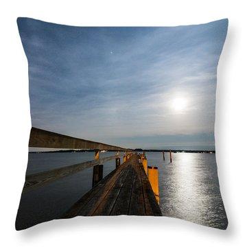 Full Moon Pier Throw Pillow