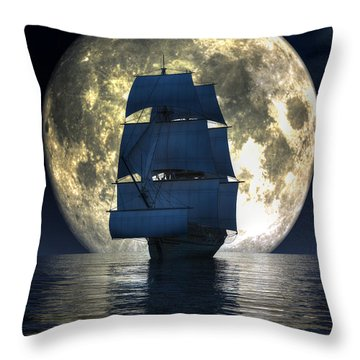 Throw Pillow featuring the digital art Full Moon Pirates by Daniel Eskridge