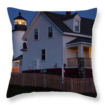 Full Moon Rise At Pemaquid Light, Bristol, Maine -150858 Throw Pillow