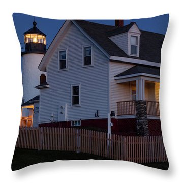 Full Moon Rise At Pemaquid Light, Bristol, Maine -150858 Throw Pillow