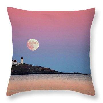 Full Moon Rising At Nubble Light Throw Pillow