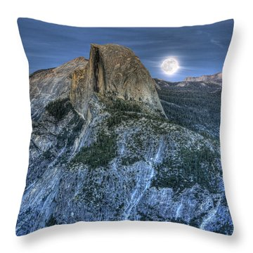 Full Moon Rising Behind Half Dome Throw Pillow by Jim And Emily Bush