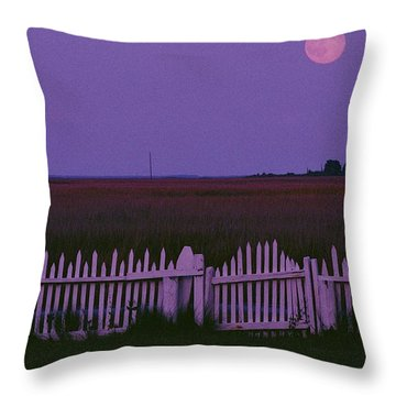 Full Moon Rising Over A Picket Fence Throw Pillow by Robert Madden