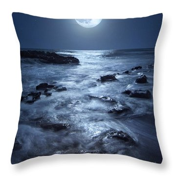 Full Moon Rising Over Coral Cove Beach In Jupiter, Florida Throw Pillow by Justin Kelefas
