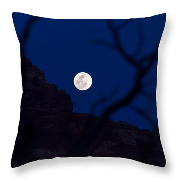 Full Moon Rising Over Desert Throw Pillow