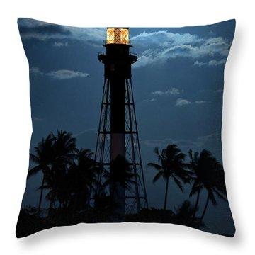 Full Moon Rising Over Hillsboro Lighthouse In Pompano Beach Florida Throw Pillow