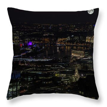 Full Color Moon Rising Over London Skyline  Throw Pillow
