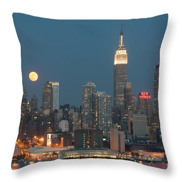 Full Moon Rising Over New York City II Throw Pillow by Clarence Holmes