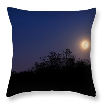 Full Moon Rising Over Trees Throw Pillow by Sharon Dominick