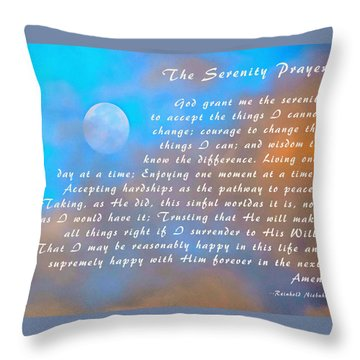 Throw Pillow featuring the photograph Full Moon Serenity Prayer Digital by Floyd Snyder
