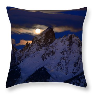 Full Moon Sets Over The Grand Teton Throw Pillow