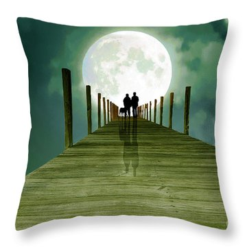 Full Moon Silhouette Throw Pillow
