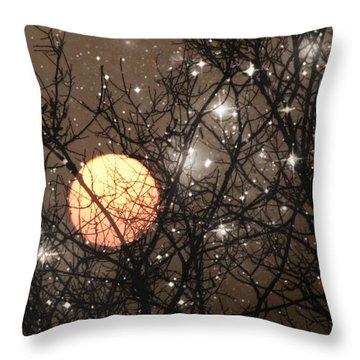 Full Moon Starry Night Throw Pillow