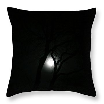 Throw Pillow featuring the photograph Full Moon Through Trees by Marilyn Hunt