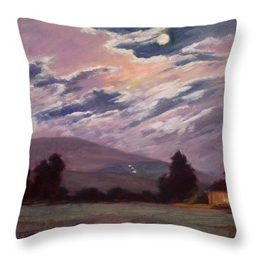 Full Moon With Clouds Throw Pillow