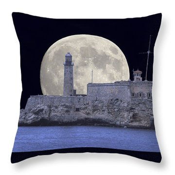 Full Moonrise Over The Castillo De Los Tres Reyes Magos Del Morro, Havana, Cuba Throw Pillow