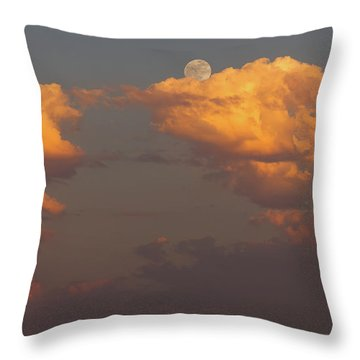 Full Moonrise Over Tree Silhouette Throw Pillow by David Gn