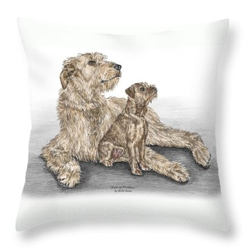 Throw Pillow featuring the drawing Full Of Promise - Irish Wolfhound Dog Print Color Tinted by Kelli Swan