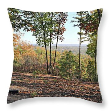 Full Panoramic View From The Summit Of Brown's Mountain Trail Throw Pillow