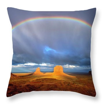 Full Rainbow Over The Mittens Throw Pillow