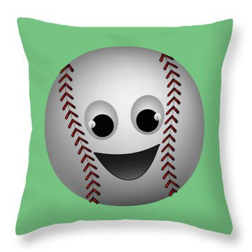 Fun Baseball Character Throw Pillow by MM Anderson