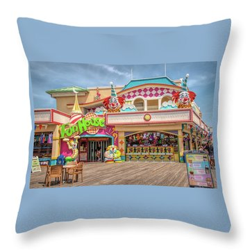 Throw Pillow featuring the photograph Fun House On The Point Pleasant Boardwalk by Kristia Adams