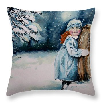 Throw Pillow featuring the painting Fun In The Snow by Geni Gorani