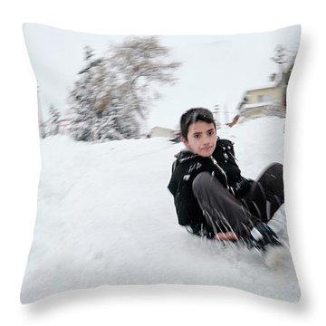 Fun On Snow-1 Throw Pillow
