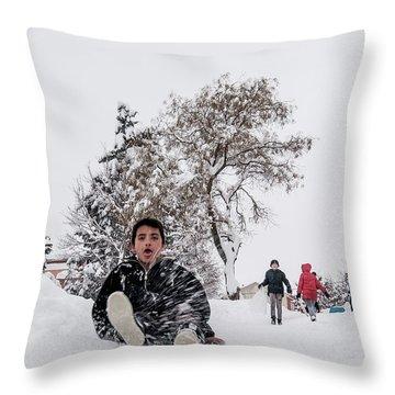 Fun On Snow-2 Throw Pillow