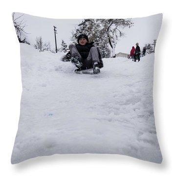 Fun On Snow-3 Throw Pillow