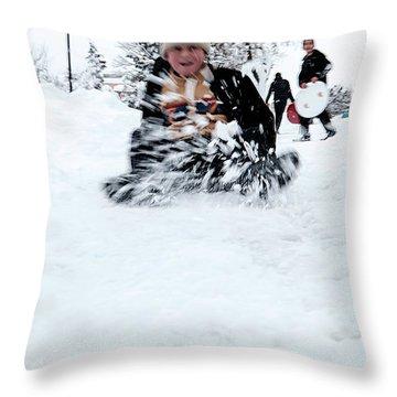 Fun On Snow-5 Throw Pillow