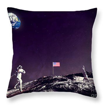Throw Pillow featuring the digital art Fun On The Moon by Methune Hively